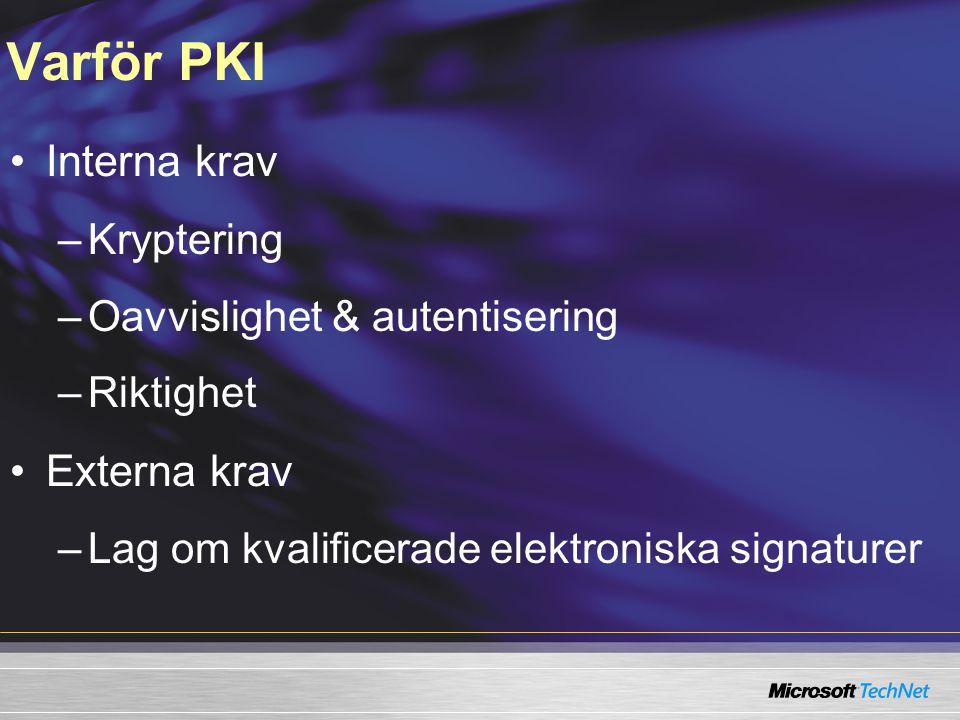 Varför PKI Interna krav Externa krav Kryptering