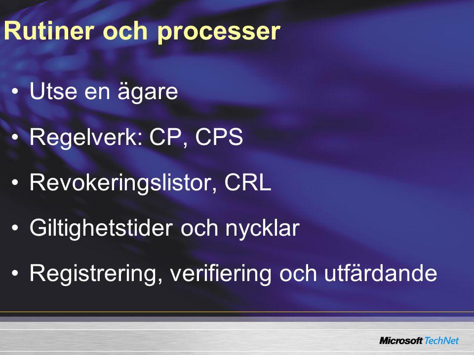 Rutiner och processer Utse en ägare Regelverk: CP, CPS