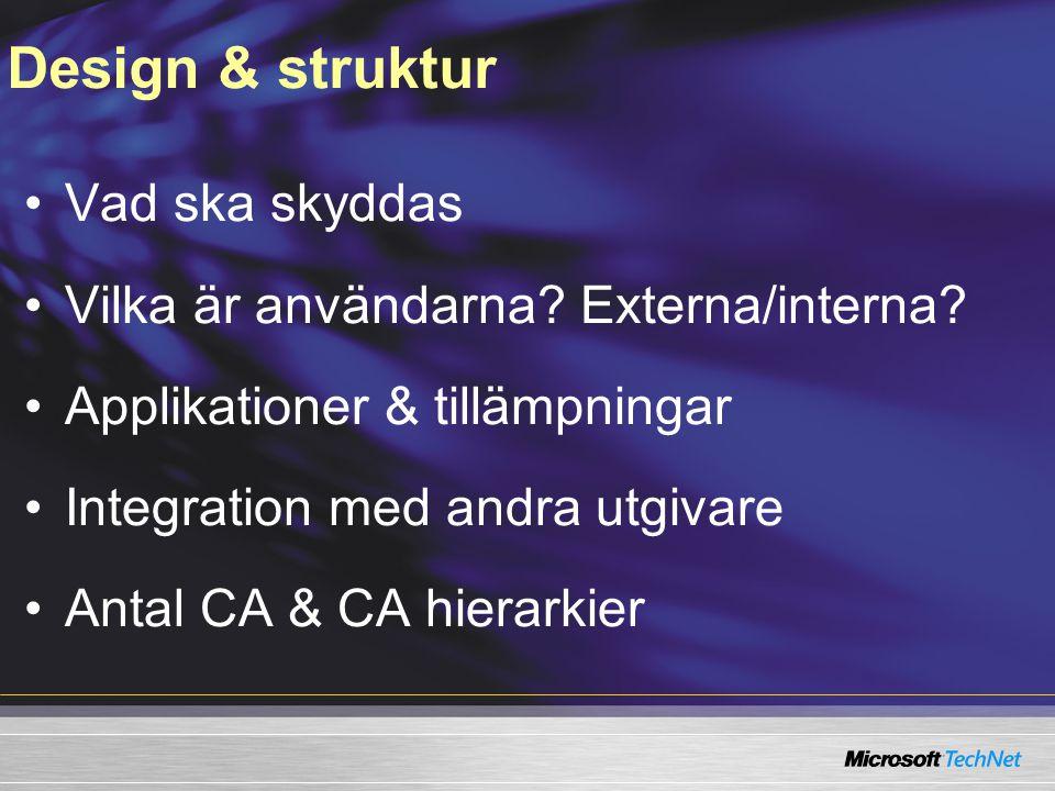 Design & struktur Vad ska skyddas