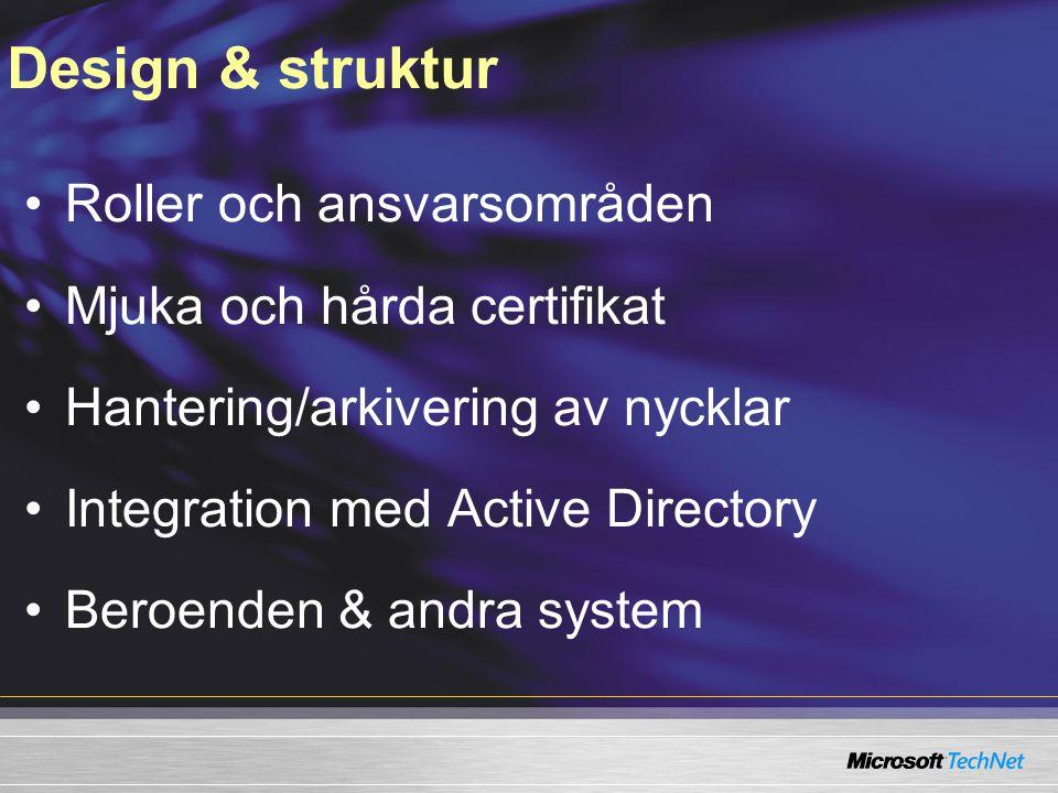 Design & struktur Roller och ansvarsområden Mjuka och hårda certifikat