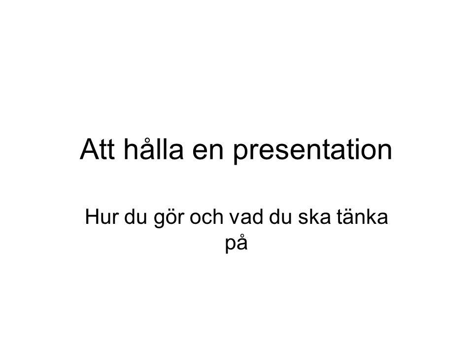 Att hålla en presentation
