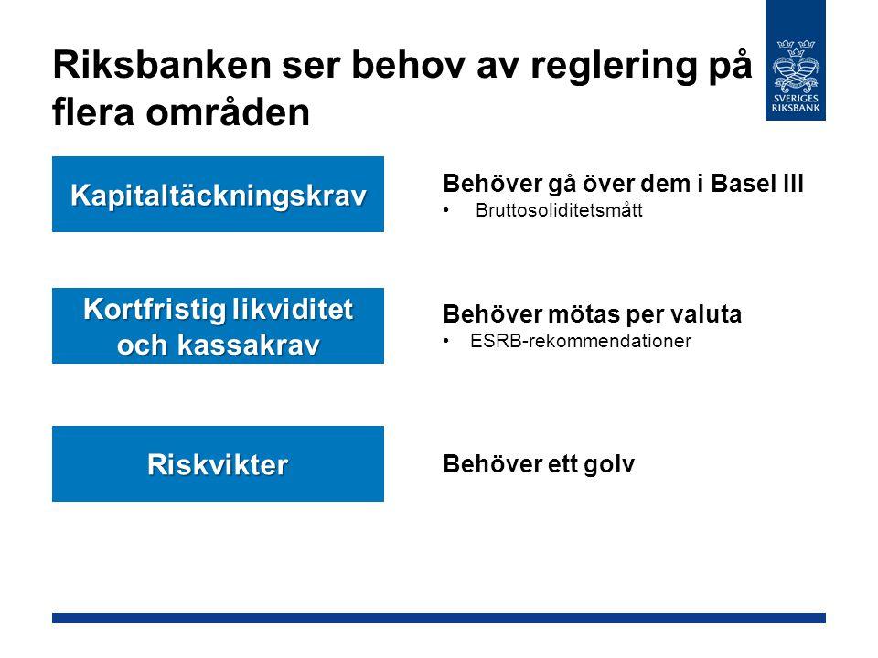 Riksbanken ser behov av reglering på flera områden