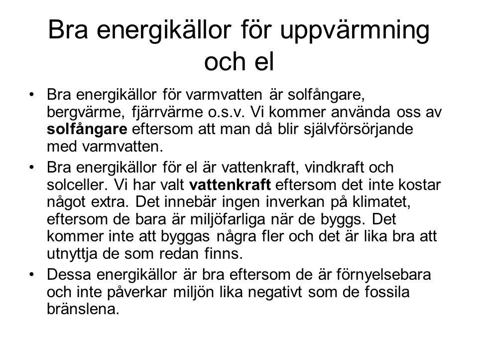 Bra energikällor för uppvärmning och el