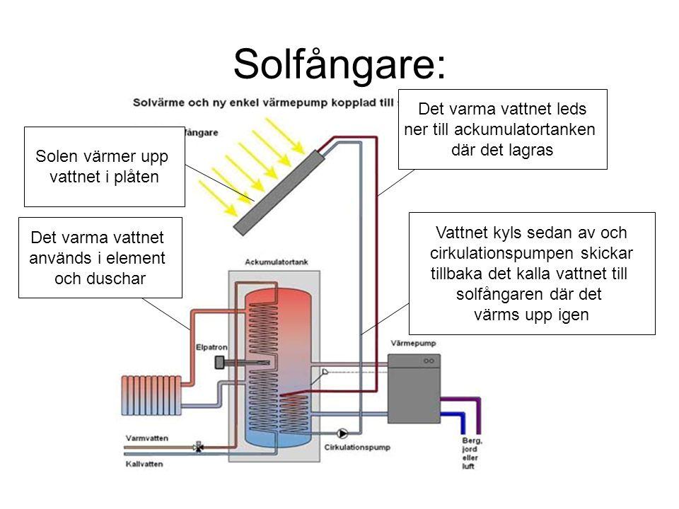 Solfångare: Det varma vattnet leds ner till ackumulatortanken