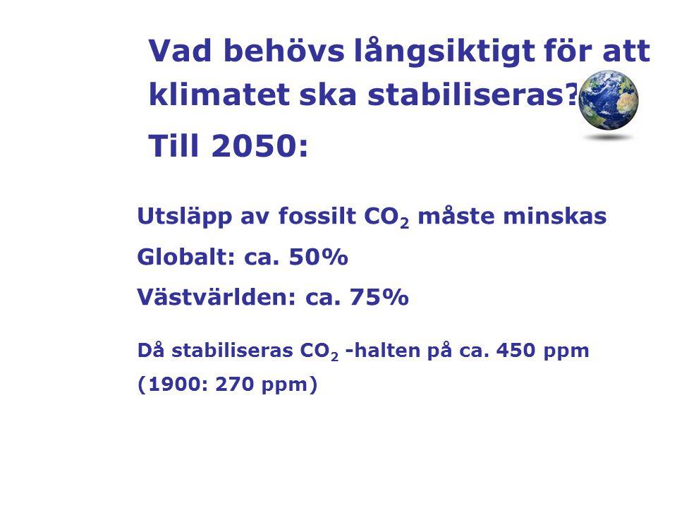 Vad behövs långsiktigt för att klimatet ska stabiliseras Till 2050: