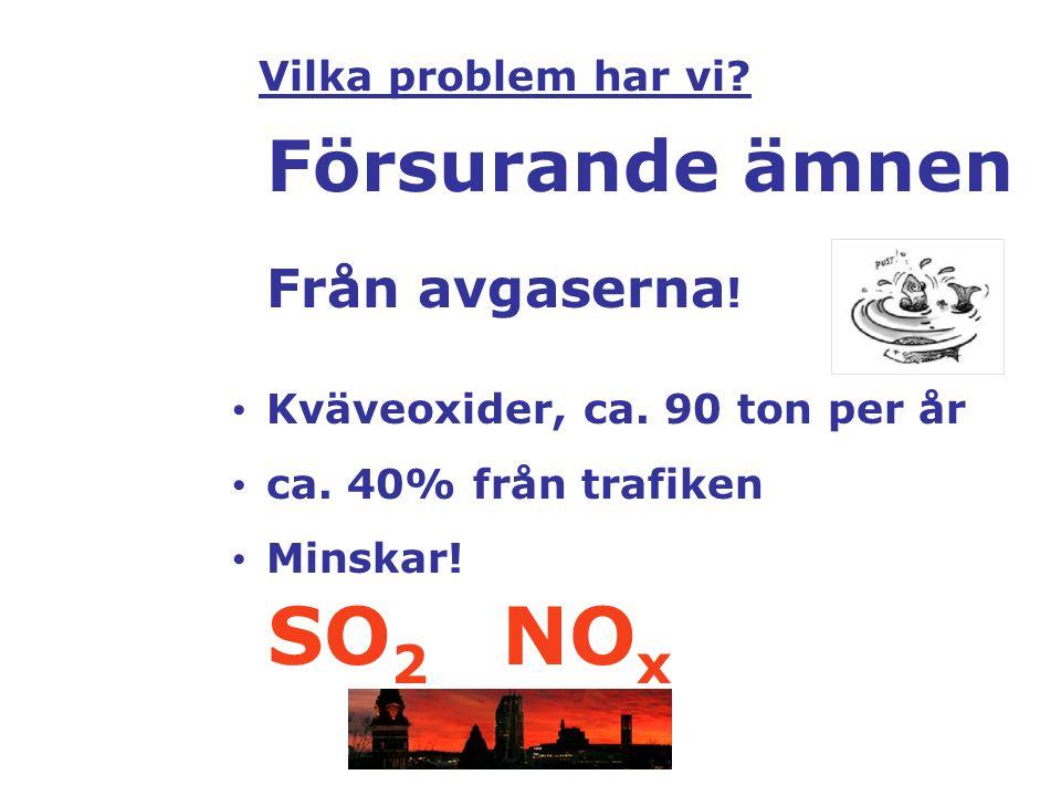 SO2 NOx Försurande ämnen Från avgaserna! Vilka problem har vi