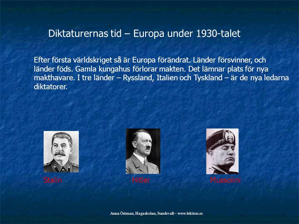 Diktaturernas tid – Europa under 1930-talet