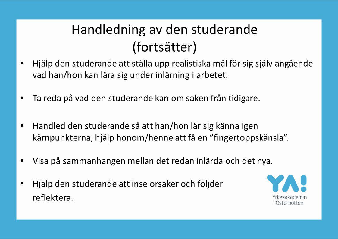 Handledning av den studerande (fortsätter)