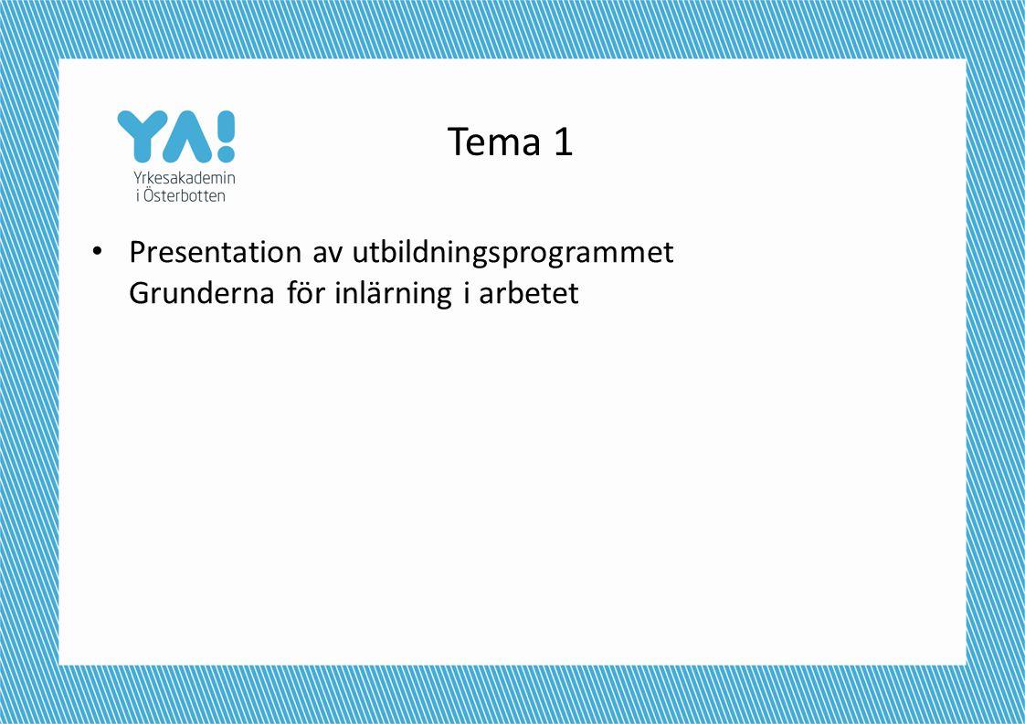 Tema 1 Presentation av utbildningsprogrammet Grunderna för inlärning i arbetet