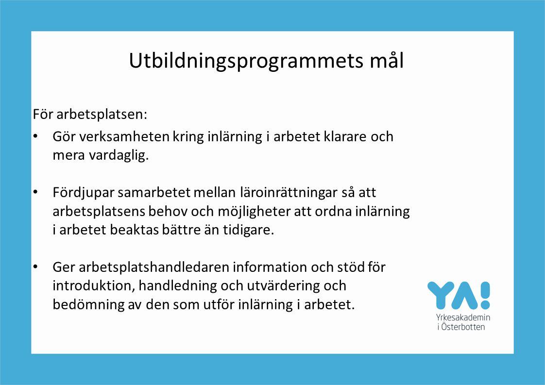 Utbildningsprogrammets mål