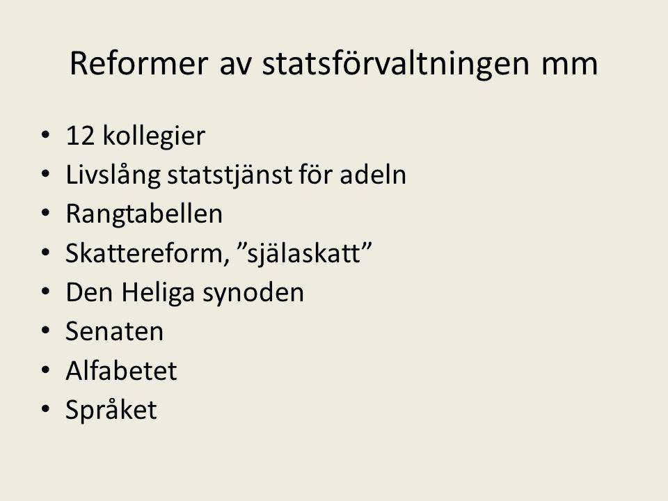 Reformer av statsförvaltningen mm