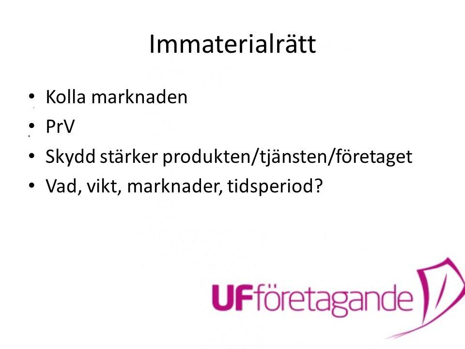 Immaterialrätt Kolla marknaden PrV