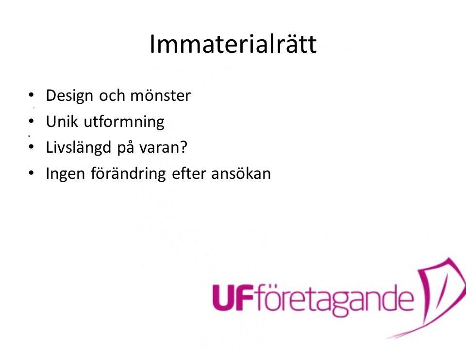 Immaterialrätt Design och mönster Unik utformning Livslängd på varan
