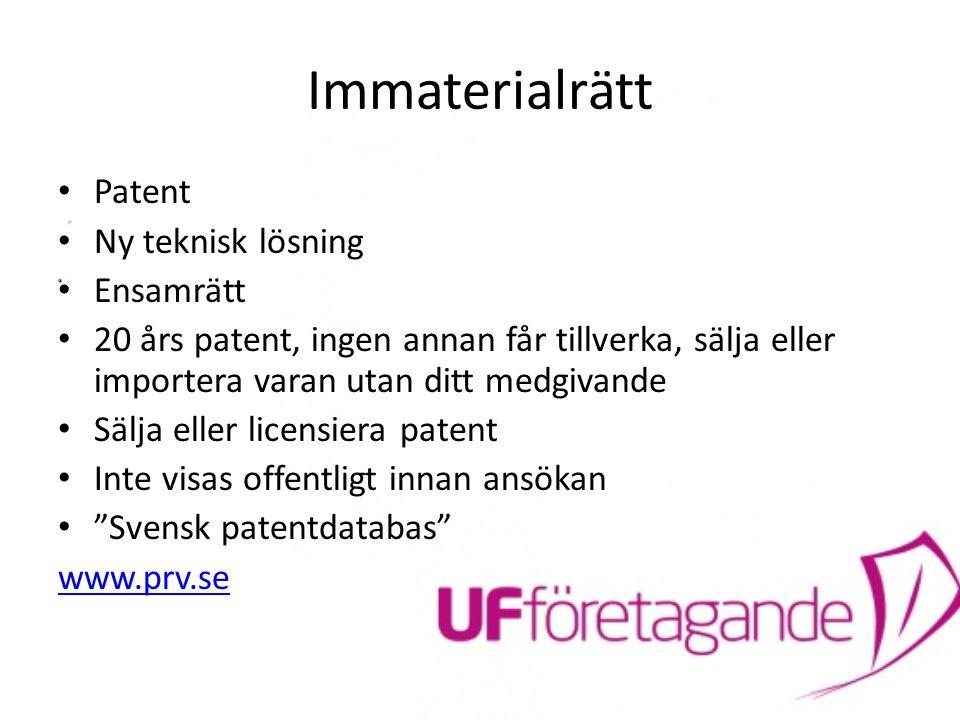 Immaterialrätt Patent Ny teknisk lösning Ensamrätt