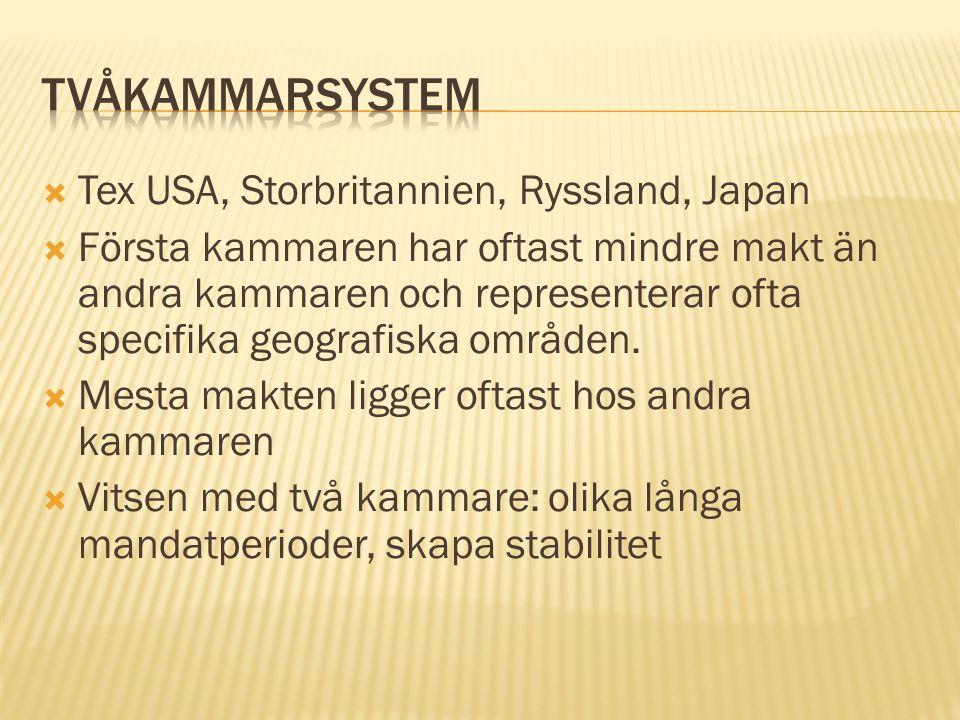 Tvåkammarsystem Tex USA, Storbritannien, Ryssland, Japan