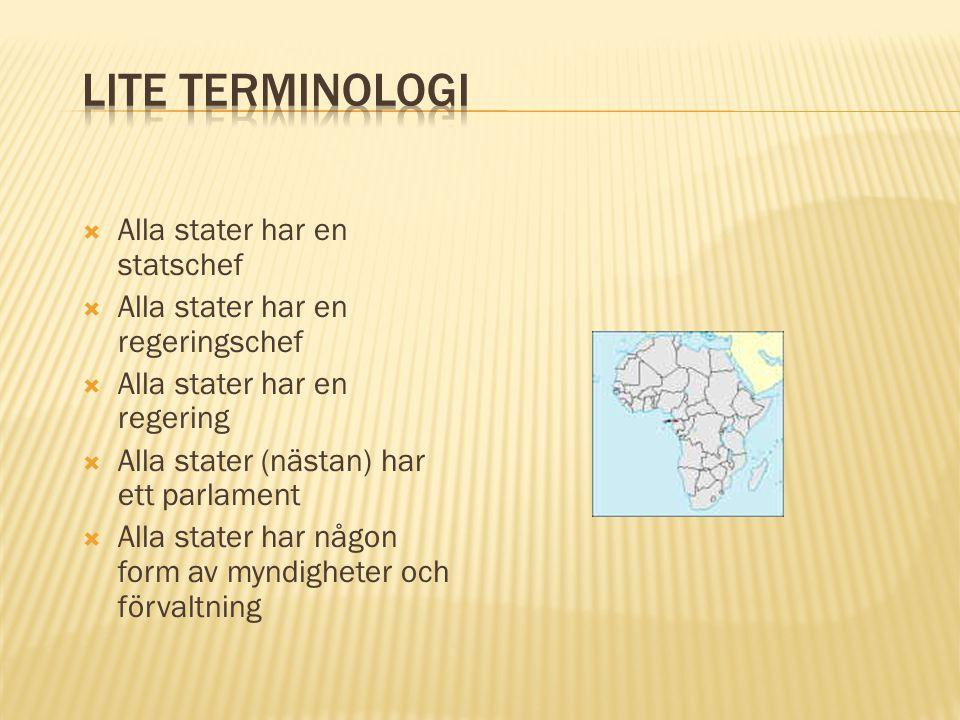 Lite terminologi Alla stater har en statschef