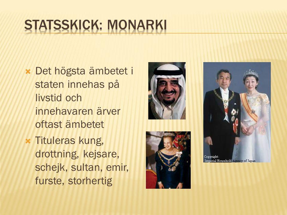 Statsskick: Monarki Det högsta ämbetet i staten innehas på livstid och innehavaren ärver oftast ämbetet.