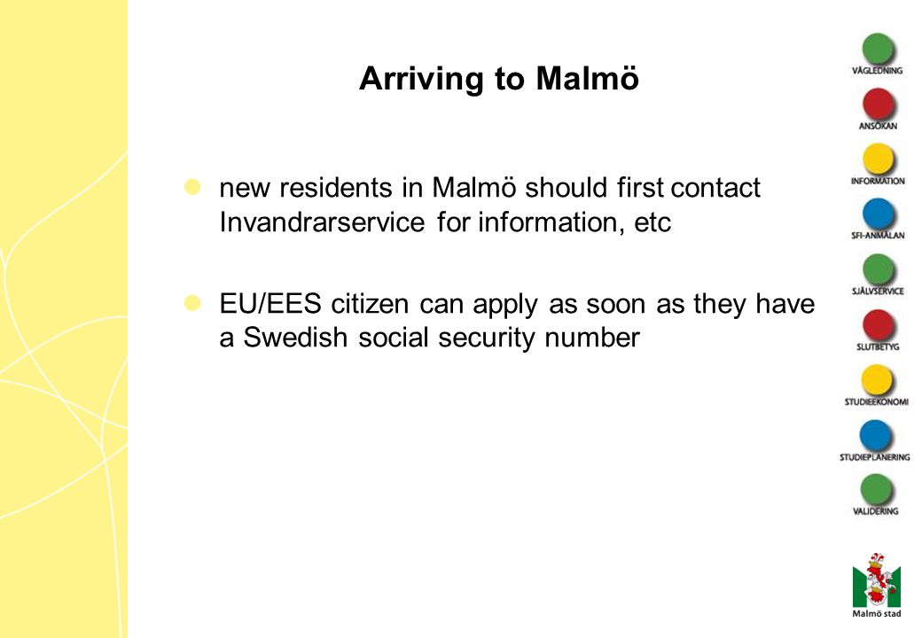 Arriving to Malmö new residents in Malmö should first contact Invandrarservice for information, etc.