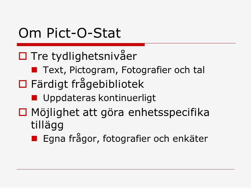 Om Pict-O-Stat Tre tydlighetsnivåer Färdigt frågebibliotek