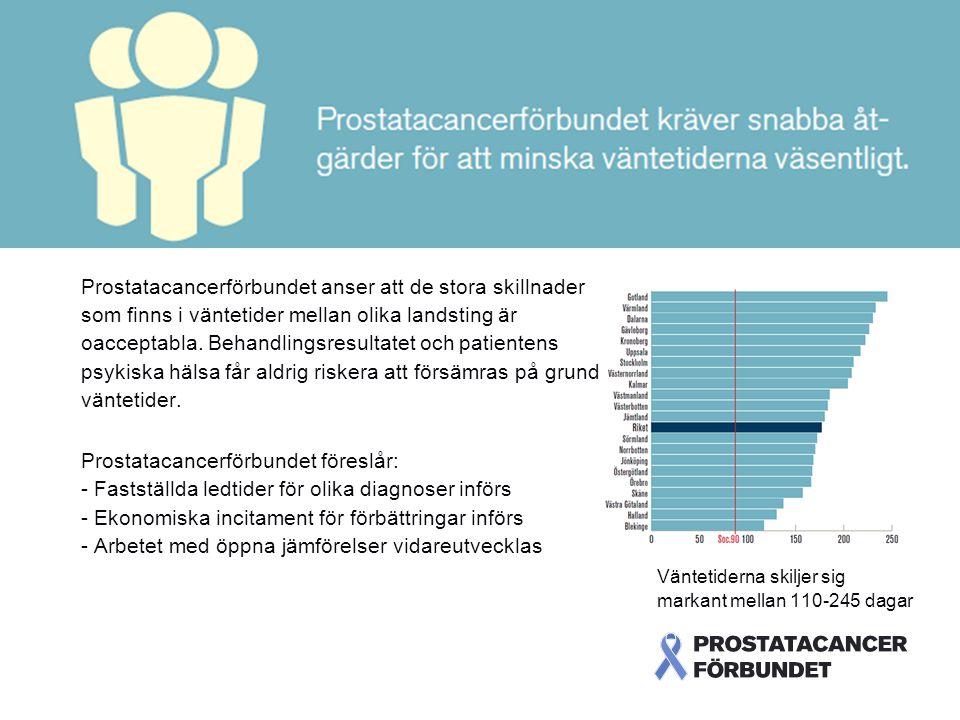 Prostatacancerförbundet anser att de stora skillnader som finns i väntetider mellan olika landsting är oacceptabla. Behandlingsresultatet och patientens psykiska hälsa får aldrig riskera att försämras på grund av omotiverat långa väntetider.