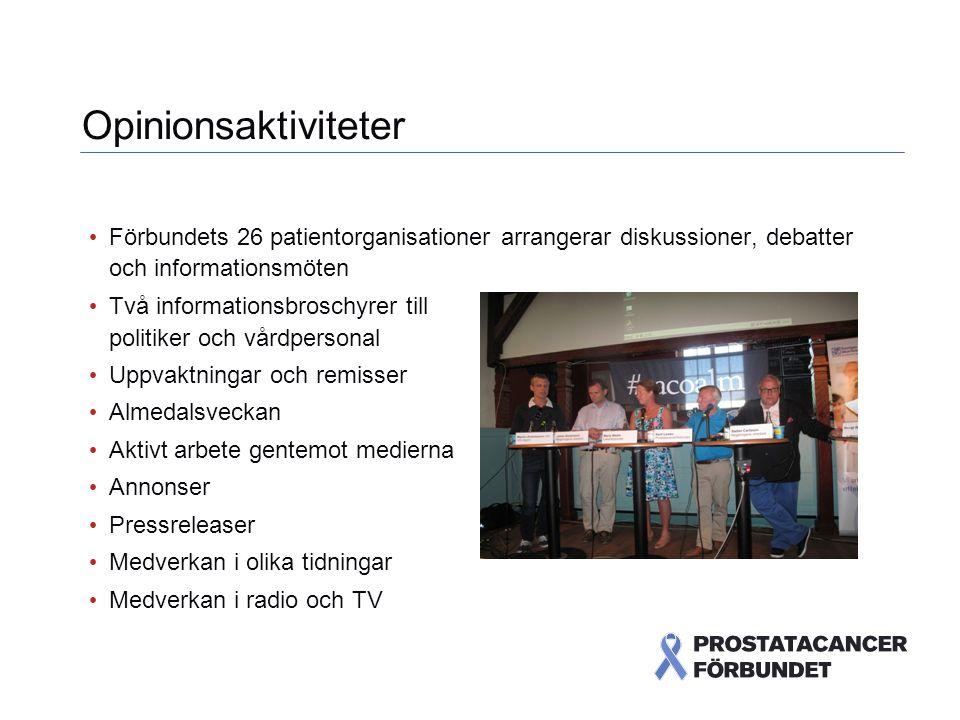 Opinionsaktiviteter Förbundets 26 patientorganisationer arrangerar diskussioner, debatter och informationsmöten.
