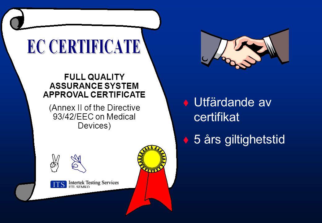 Utfärdande av certifikat 5 års giltighetstid