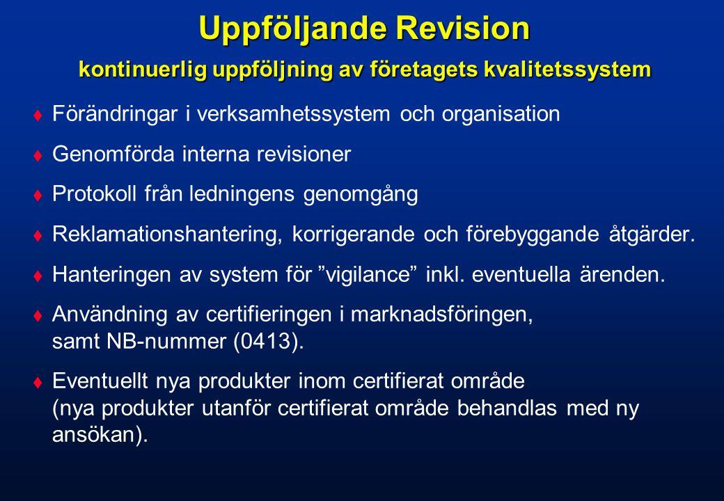 Uppföljande Revision kontinuerlig uppföljning av företagets kvalitetssystem
