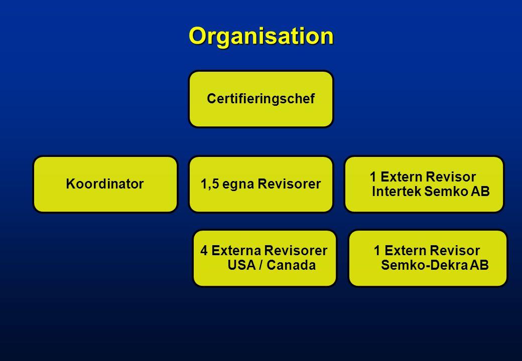 Organisation Certifieringschef Koordinator 1,5 egna Revisorer