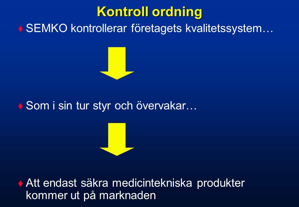 Kontroll ordning SEMKO kontrollerar företagets kvalitetssystem…