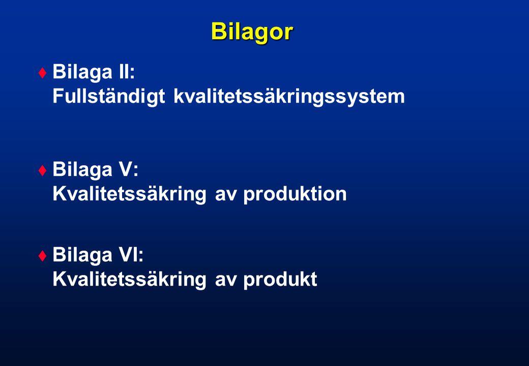 Bilagor Bilaga II: Fullständigt kvalitetssäkringssystem