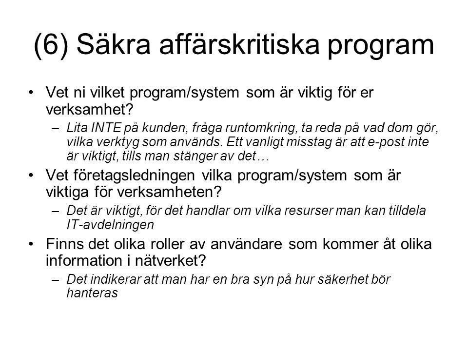 (6) Säkra affärskritiska program