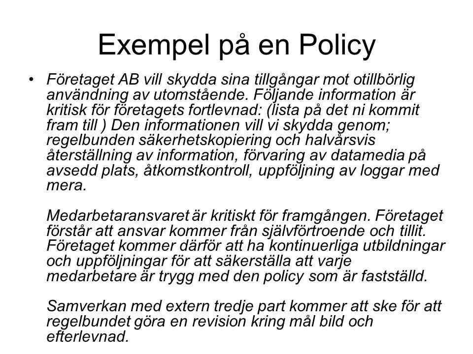 Exempel på en Policy