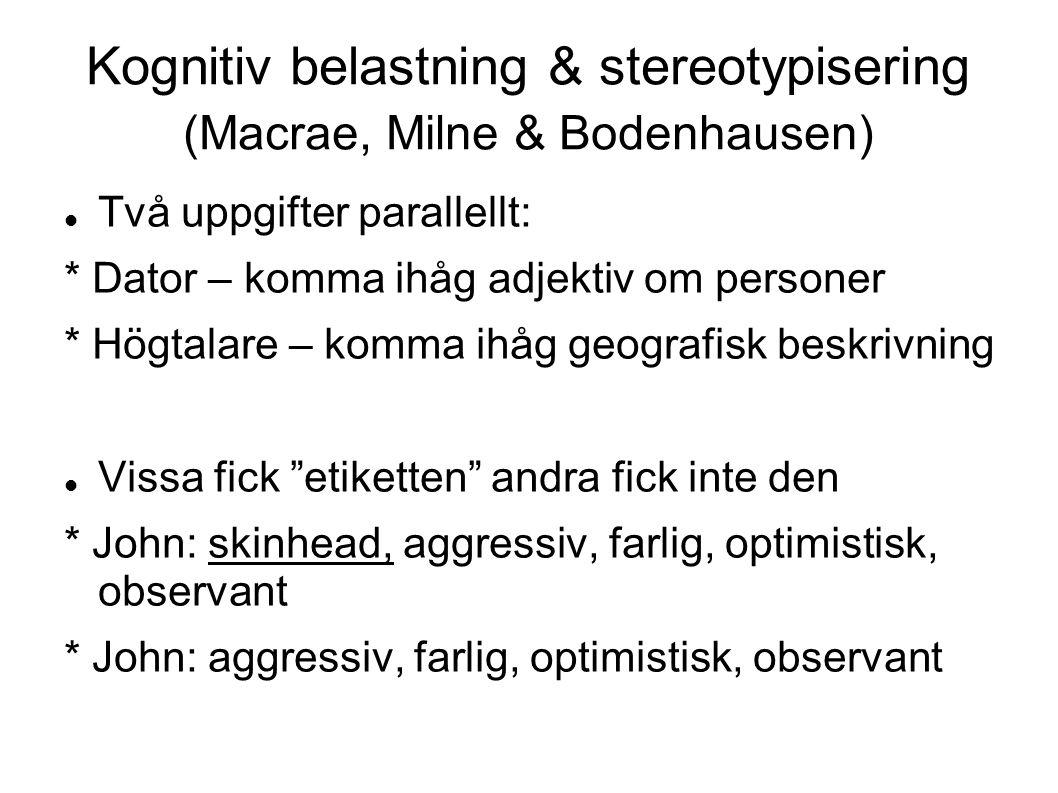 Kognitiv belastning & stereotypisering (Macrae, Milne & Bodenhausen)
