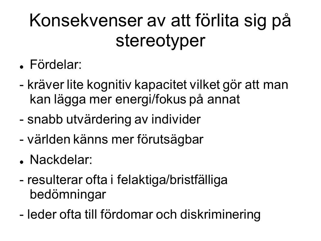 Konsekvenser av att förlita sig på stereotyper