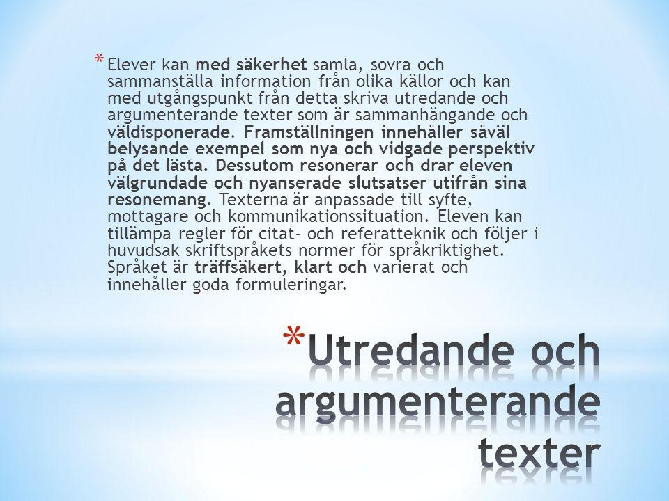 Utredande och argumenterande texter
