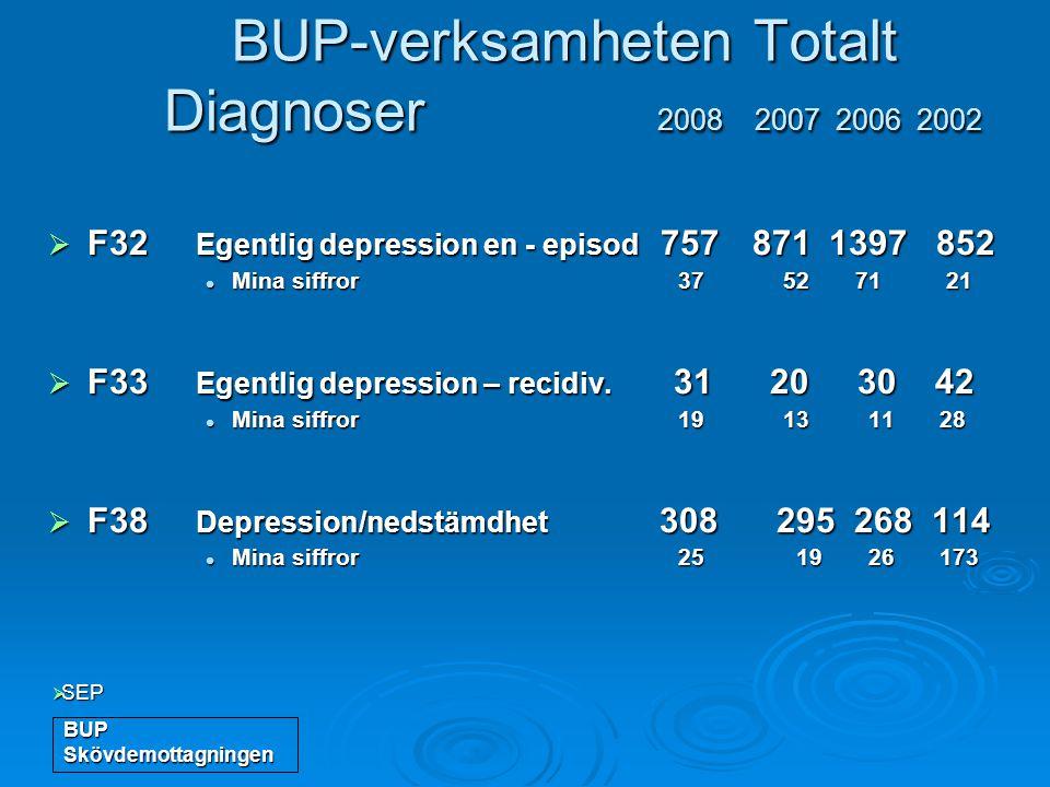 BUP-verksamheten Totalt Diagnoser 2008 2007 2006 2002