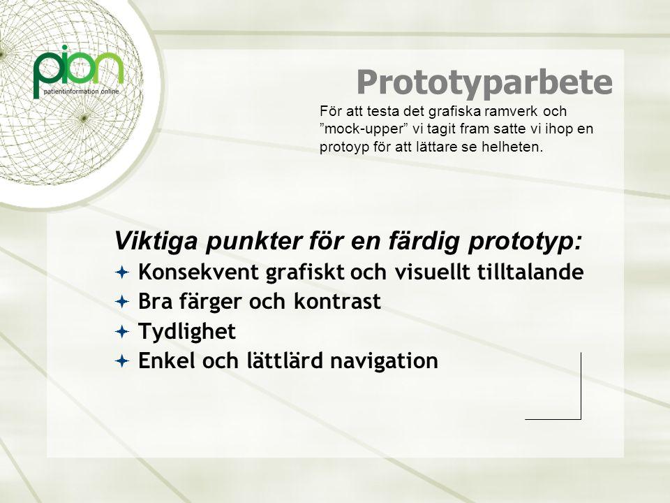 Prototyparbete Viktiga punkter för en färdig prototyp: