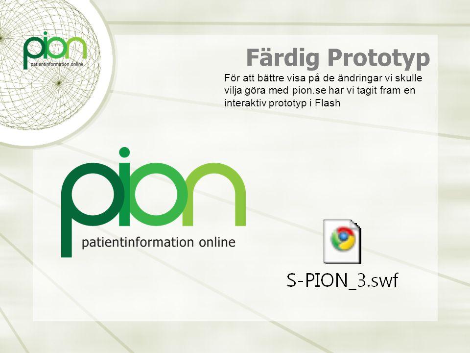 Färdig Prototyp För att bättre visa på de ändringar vi skulle vilja göra med pion.se har vi tagit fram en interaktiv prototyp i Flash.