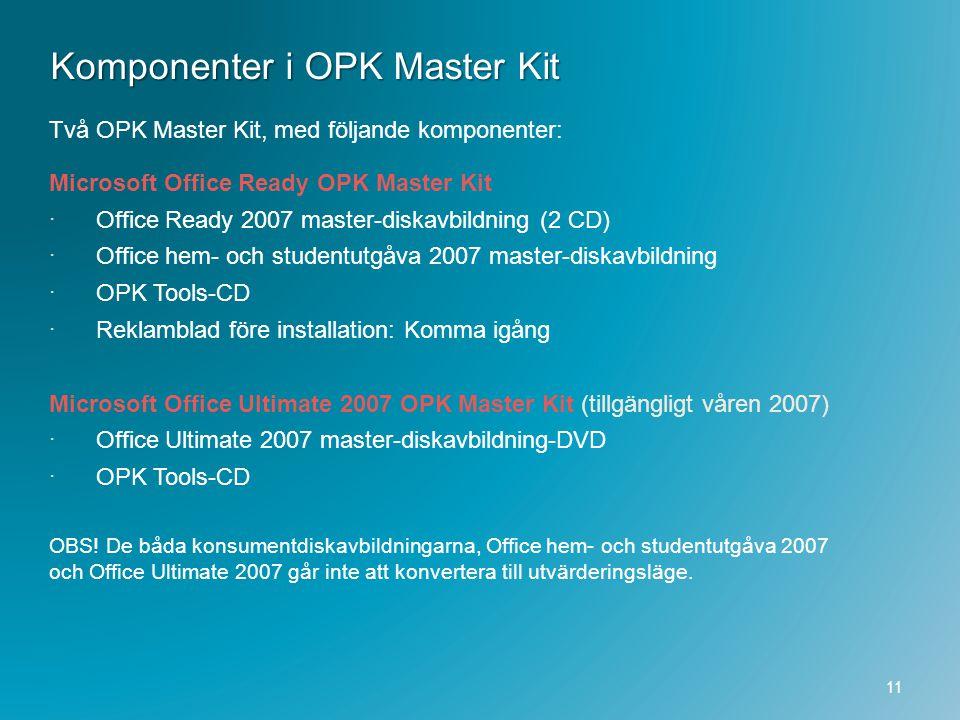 Komponenter i OPK Master Kit