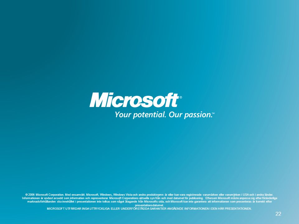 3/12/2007 2:41 PM © 2006 Microsoft Corporation. Med ensamrätt.