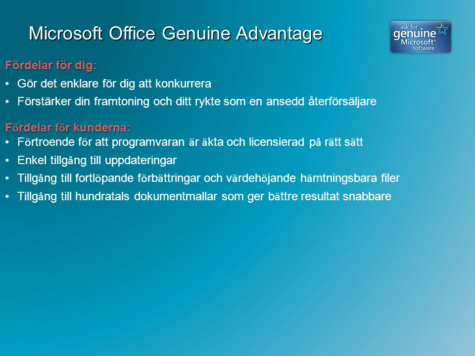 Microsoft Office Genuine Advantage