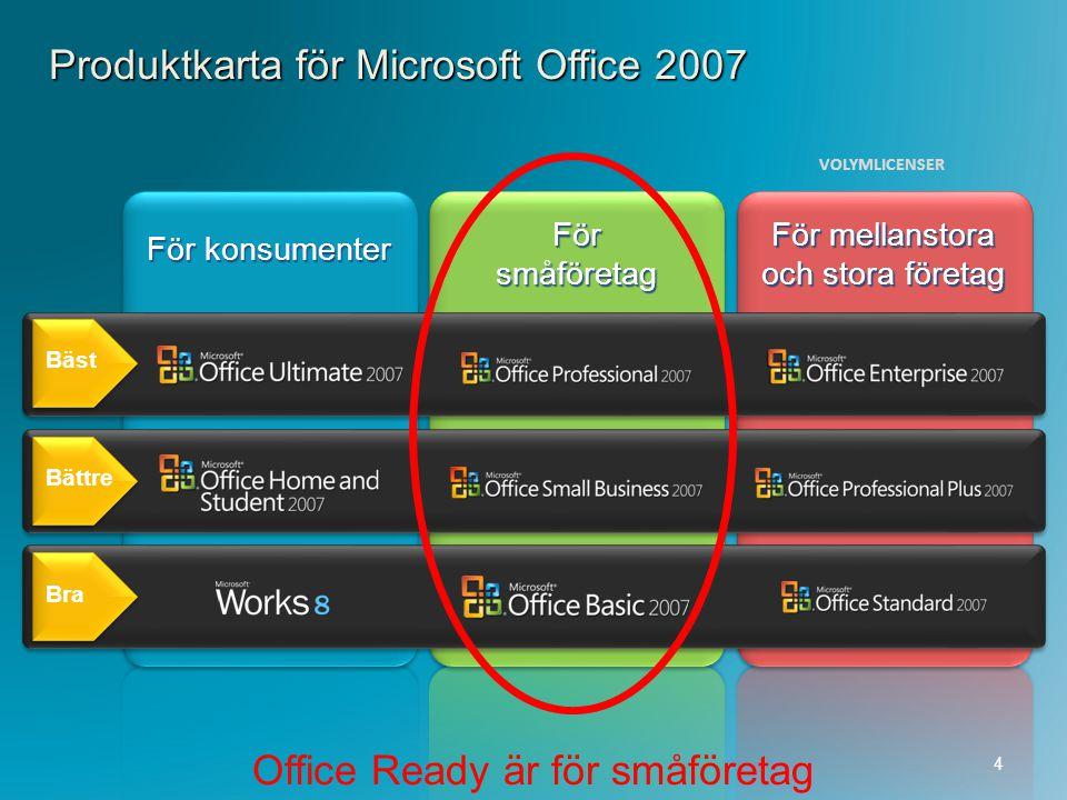 Produktkarta för Microsoft Office 2007