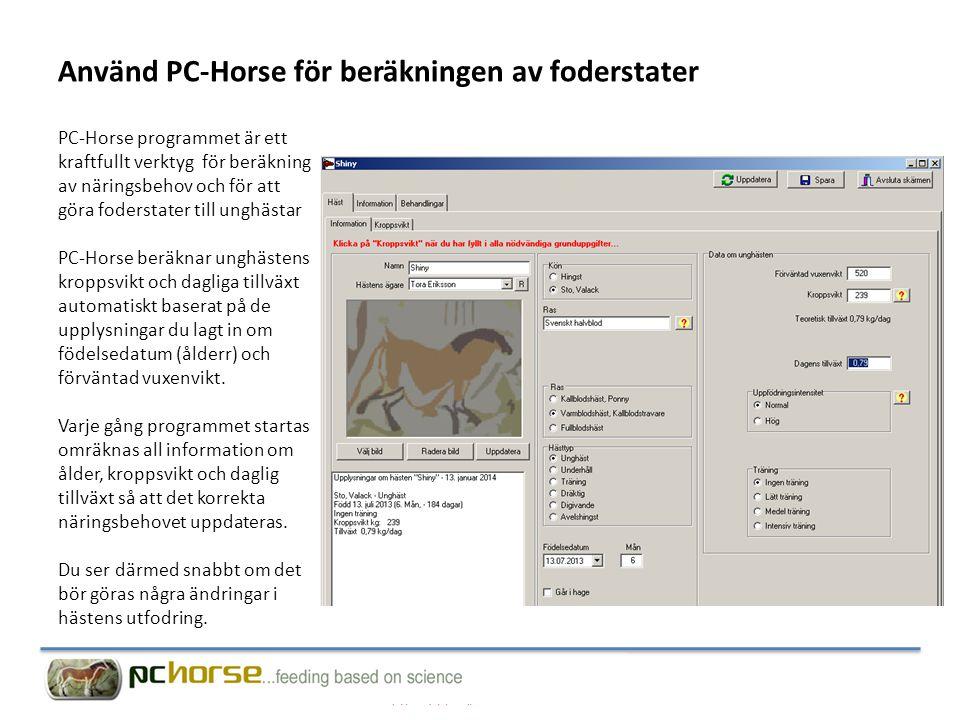 Använd PC-Horse för beräkningen av foderstater