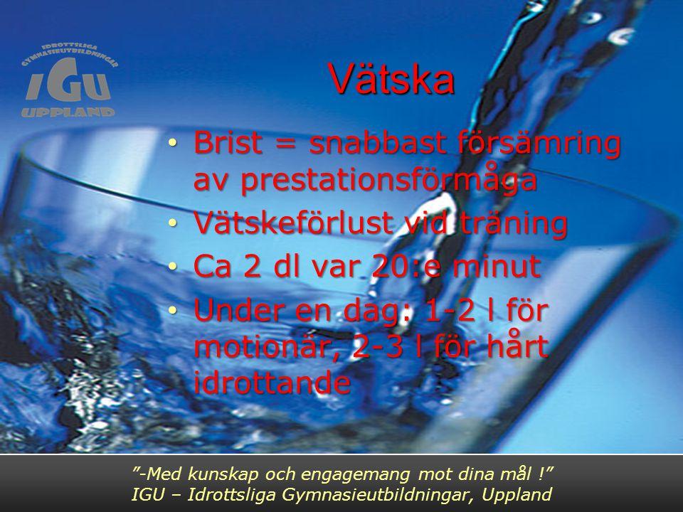 Vätska Brist = snabbast försämring av prestationsförmåga