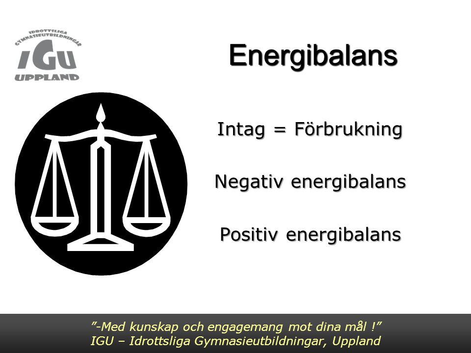 Intag = Förbrukning Negativ energibalans Positiv energibalans