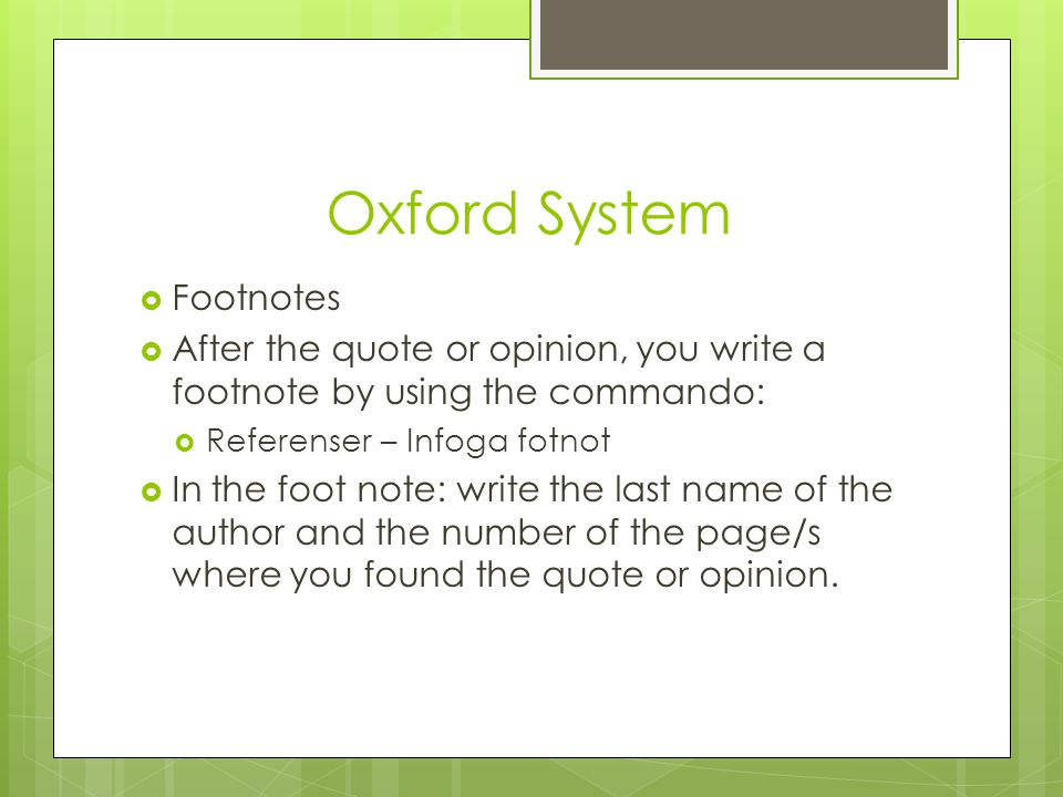 Oxford System Footnotes