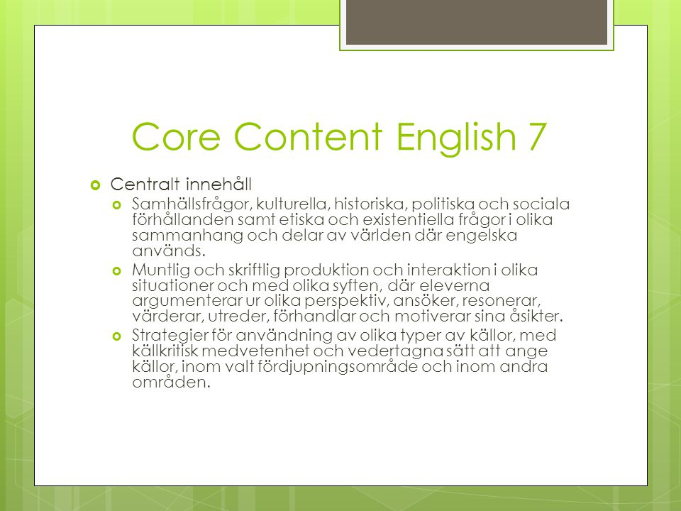 Core Content English 7 Centralt innehåll