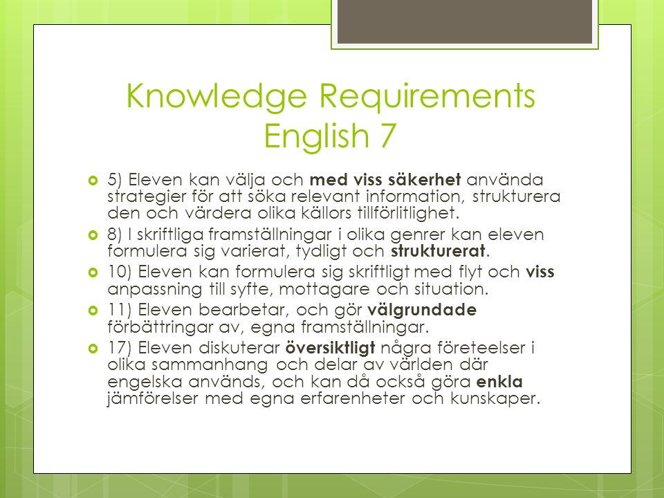 Knowledge Requirements English 7