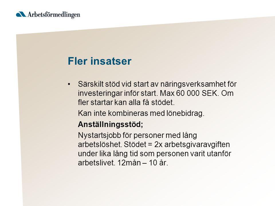 Fler insatser Särskilt stöd vid start av näringsverksamhet för investeringar inför start. Max 60 000 SEK. Om fler startar kan alla få stödet.