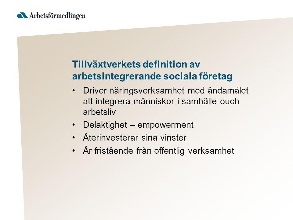Tillväxtverkets definition av arbetsintegrerande sociala företag